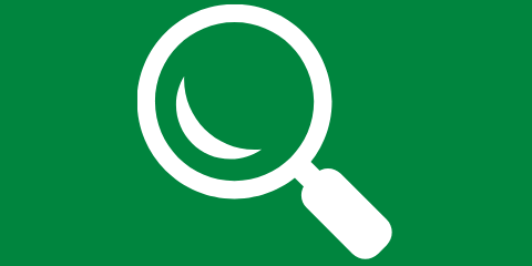 Green background with white magnifying glass