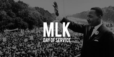 Black and white image of Martin Luther King Jr. with text: MLK Day of Service