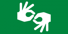 Green background with white hands signing